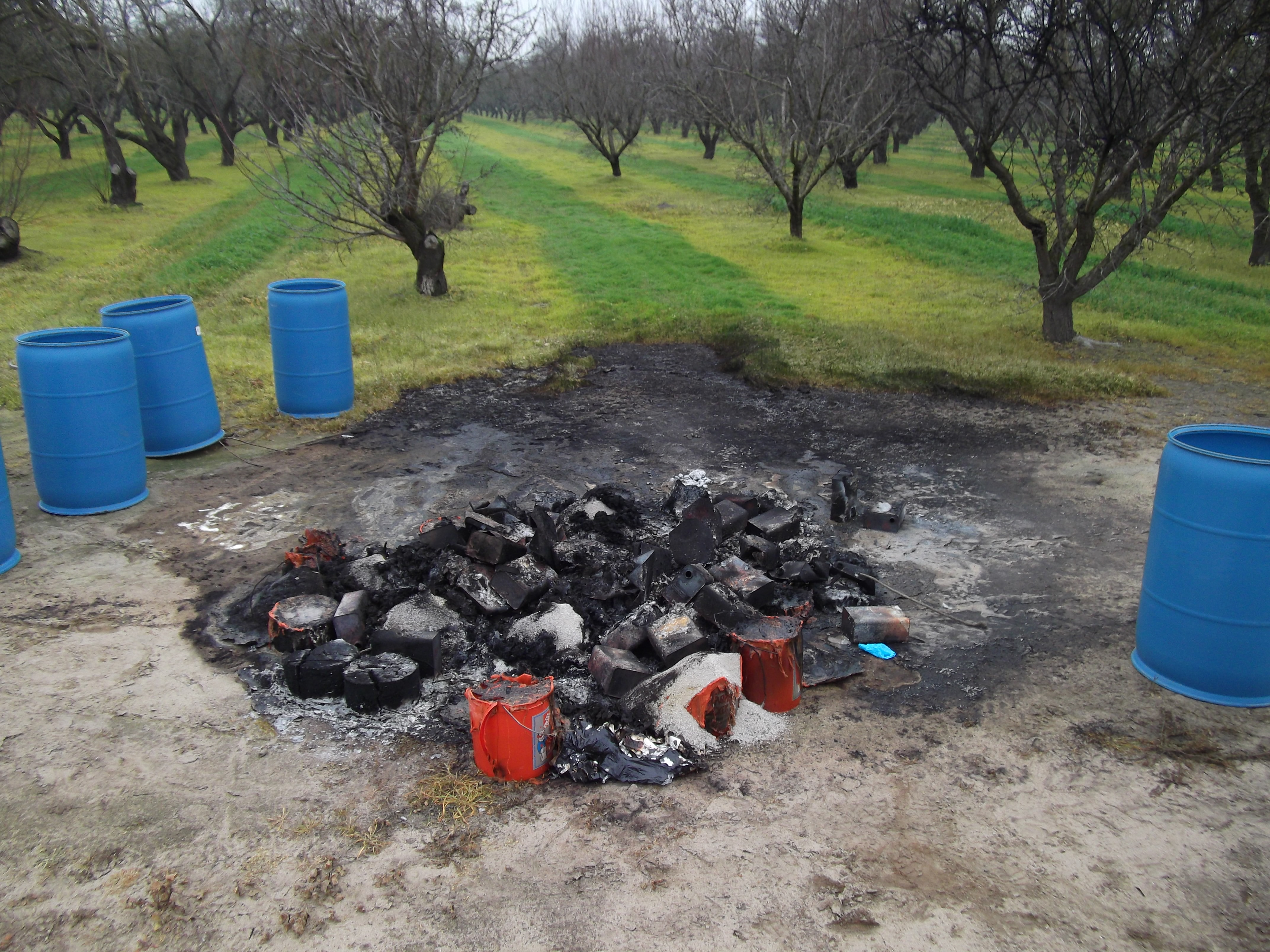 A roadside abandonment of hazardous waste associated with an illegal drug lab operation.