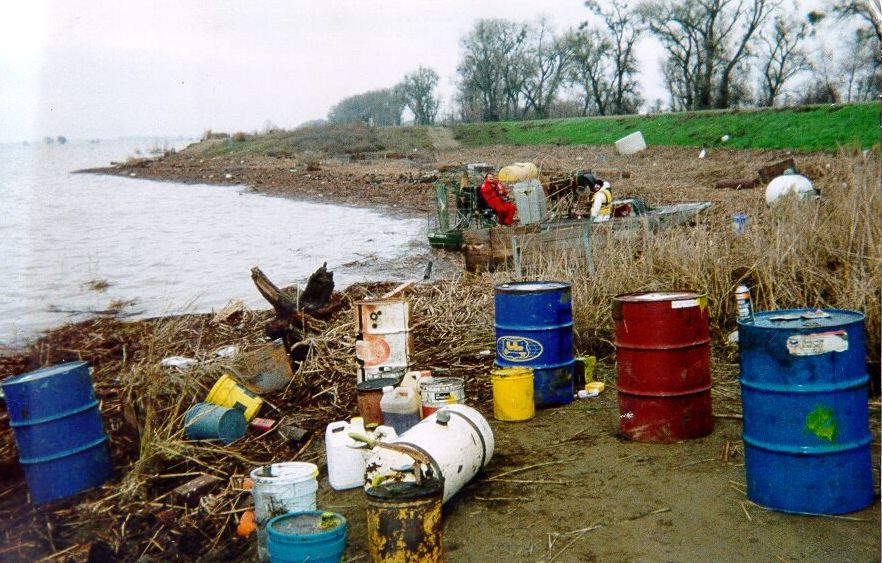Hazardous waste items from wildfire recovery (barrels, etc.)