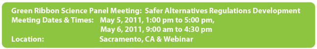 Green Ribbon Science Panel Meeting: Safer Alternatives Regulations Development
