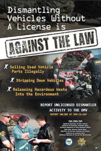 DMV Unlicensed Vehicle Dismantling Poster