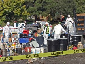 DTSC HazMat crews assess, package, and prepare for offsite disposal of household hazardous waste and e-waste generated as a result of the Sonoma County Floods in February 2019