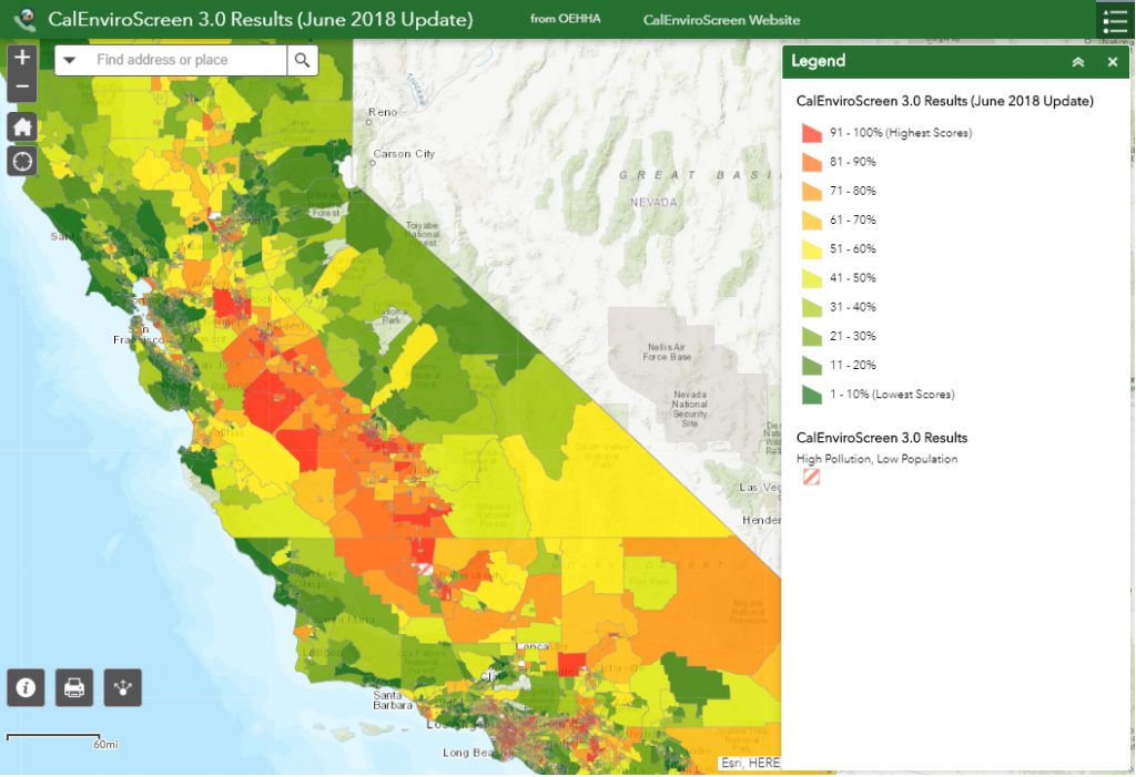 Screenshot of an interactive map of California, using colors to indicate health assessment scores. Clicking the image takes you to the map page.