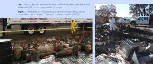 Left: Tanks collected in the aftermath of the Boles Fire, which burned in Weed in 2014, are prepared for transport. Right: Contractors sift through debris after the Rocky Fire, which consumed parts of Lake, Yolo and Colusa counties in 2015.