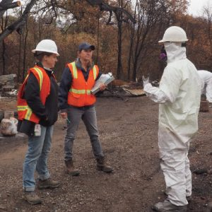 DTSC staff during cleanup of household hazardous waste from the Redwood Valley Fire.