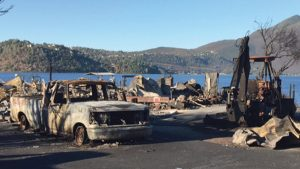 The Sulphur Fire scarred the area around Clear Lake in Lake County, transforming common possessions into household hazardous waste requiring cleanup.