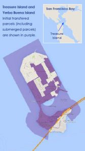 Treasure Island and Yerba Buena Island.  Initial transfered parcels (including submerged parcels) are shown in purple.