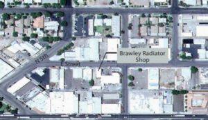 Overhead aerial view displaying the Brawley Radiator Shop location on E Street near N 5th