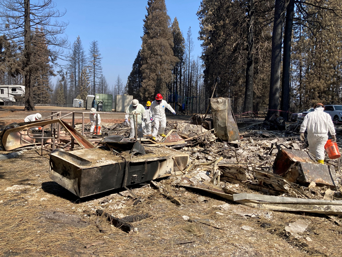 DTSC Emergency Response Crews assessed and removed household hazardous waste from the Walt Tyler Elementary School in Grizzly Flats, CA. The school was destroyed by the Caldor Fire.